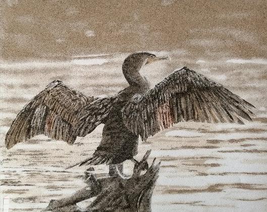 Tableau de sable Cormoran lac
