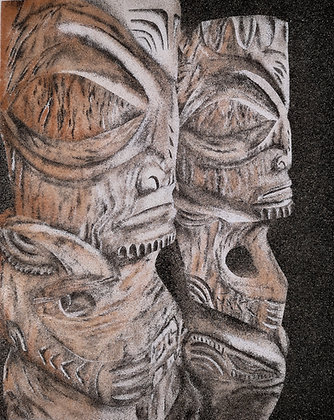 Tableau de sable des Deux Tikis