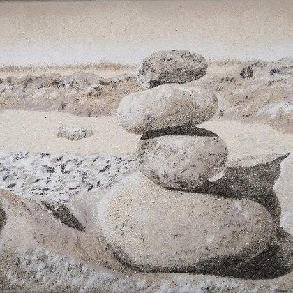 Tableau de sable Totem de galets