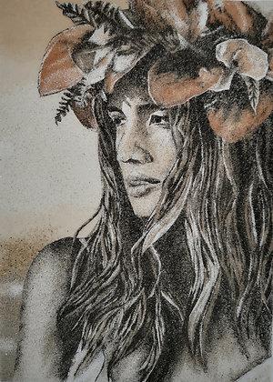 Tableau de sable d'un Portrait d'une Vahiné