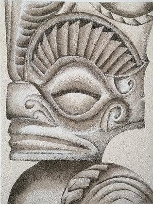 Tableau de sable d'un Tiki de profile