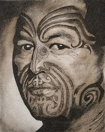 Tableau de sable Portrait Maori