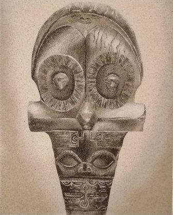 Tableau de sable d'un Casse tête marquisien