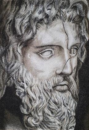 Tableau de sablePortrait de Poseïdon
