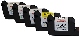 HP Solvtij cartridge colours, white, yellow, red, green, blue, non porous printing plastics