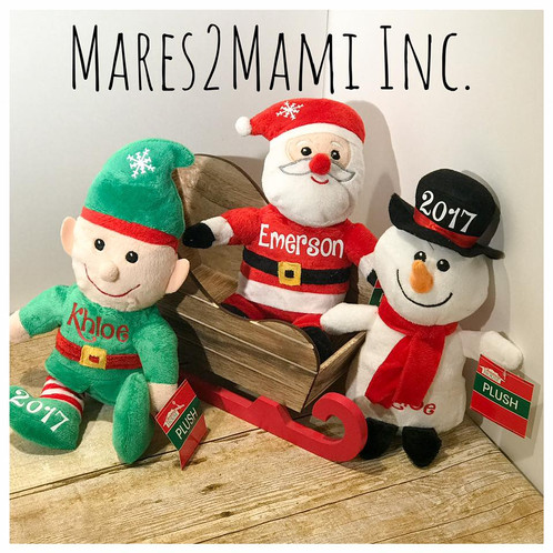 christmas house sitting plush dolls 10 in personalized with childs name year and optional snowflake