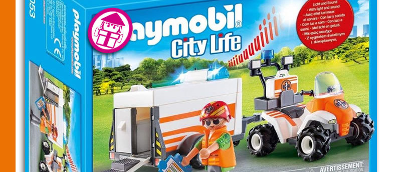 PLAYMOBIL 70053 Quad with Rescue Trailer