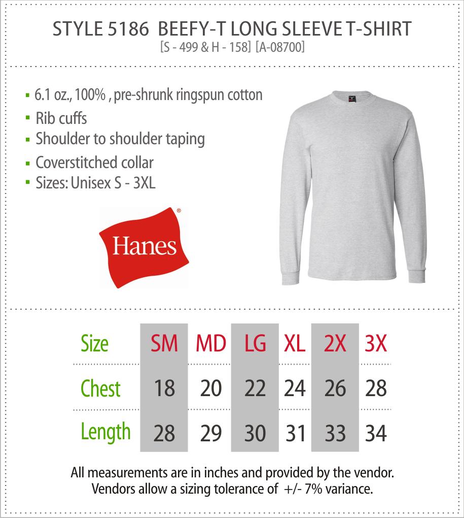 5186 - Hanes Long Sleeve Beefy T
