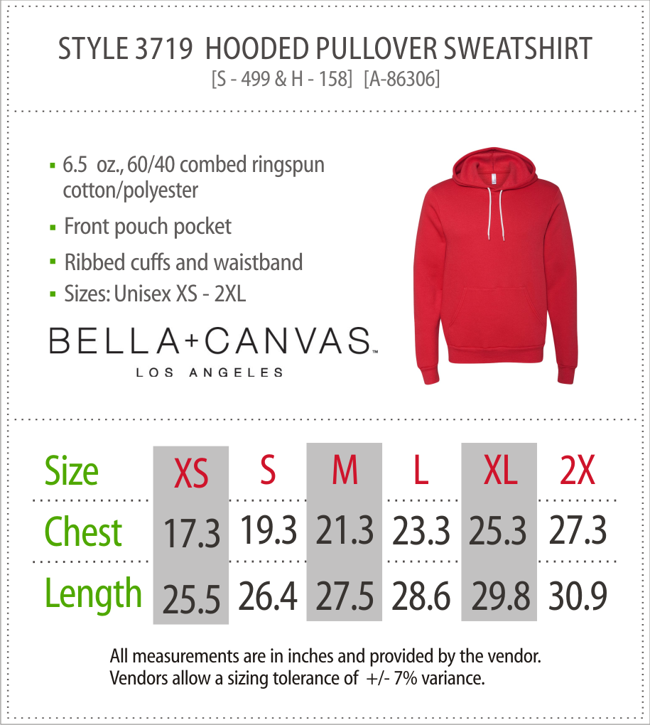 3719 - Canvas Hooded Sweatshirt