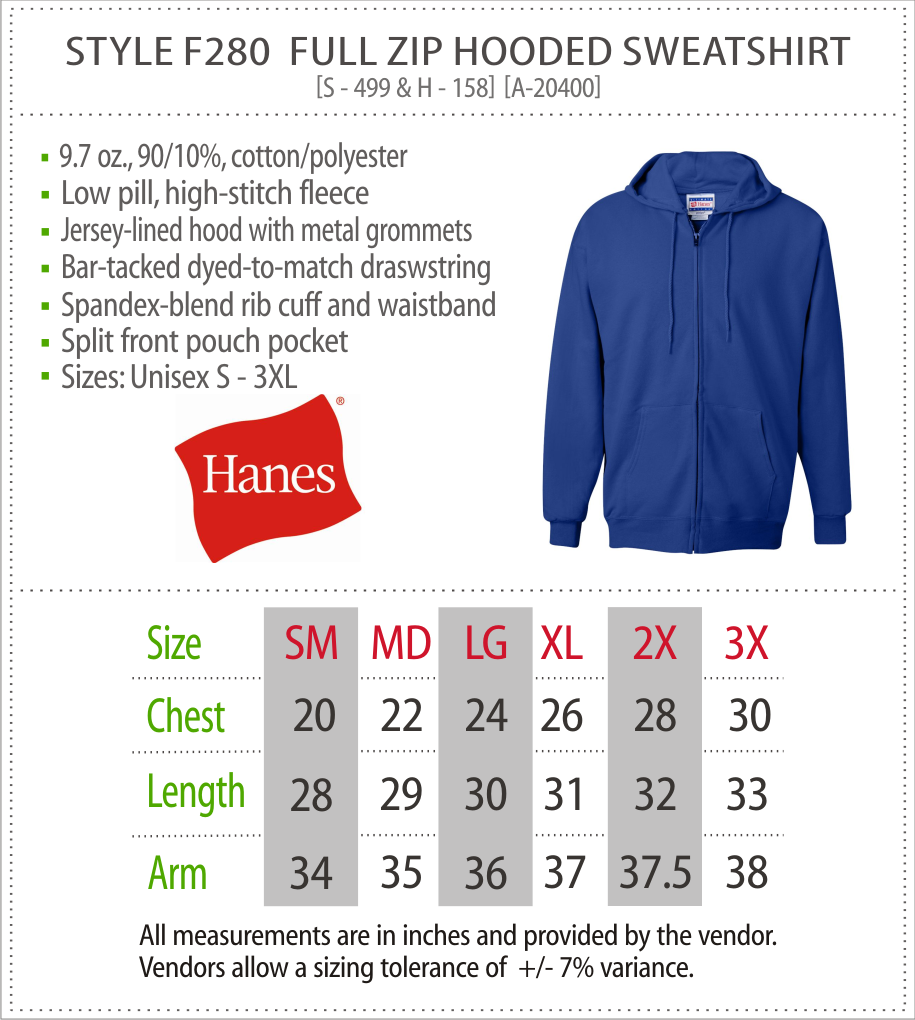 F280 - Hanes Full Zip Hooded Sweatshirt