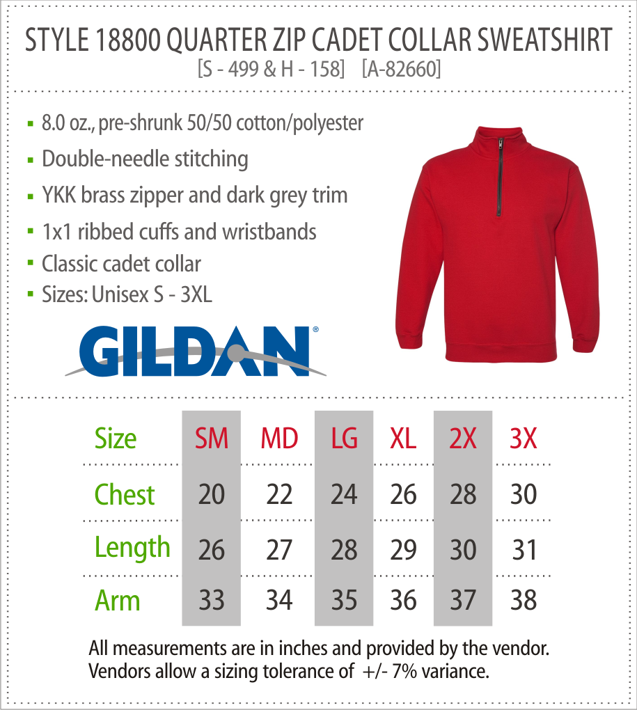 18800 - Gildan Quarter Zip Sweatshirt
