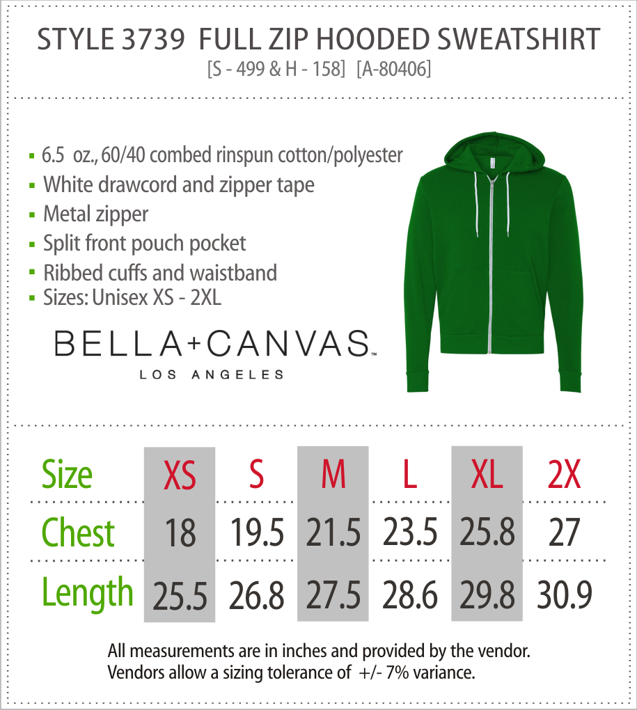 3739 - Canvas Full Zip Hooded Sweatshirt