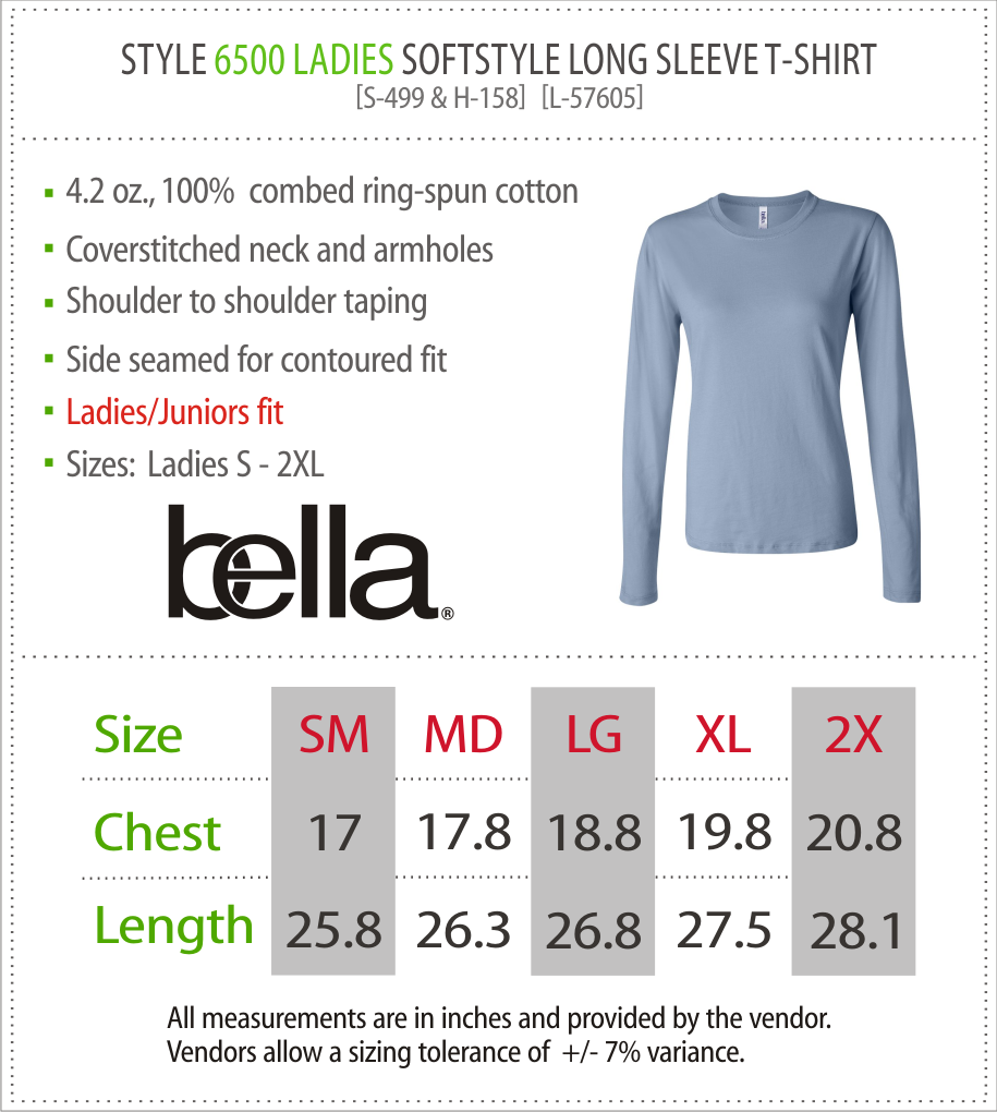 6500 - Bella Ladies Long Sleeve T-Shirt