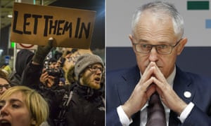 Protestors over the travel ban, and Australian PM Malcolm Turnbull