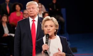 Trump and Hillary Clinton at the debate in St Louis in October last year.
