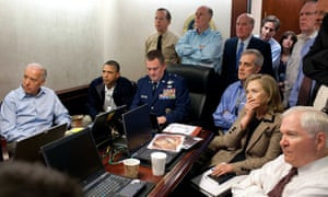 May 2011: in the White House situation room receiving an update on the mission by Seal Team 6 that killed Osama bin Laden.