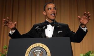 Barack Obama speaks at the White House Correspondents' Association annual dinner in Washington on 30 April 2011.
