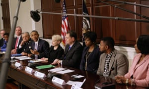 Barack Obama at a meeting on building trust between communities and law enforcement in the wake of the Michael Brown shooting.
