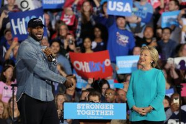 NBA basketball player Lebron James introduces U.S. Democratic presidential nominee Hillary Clinton during a campaign rally in Cleveland