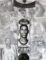 """James Pate drew""""Blackballed Totem Drawing: Roger 'The Rajah' Brown """" as a tribute to the famous Pacers player, and the piece helped spark Brown's recognition at the University of Dayton."""