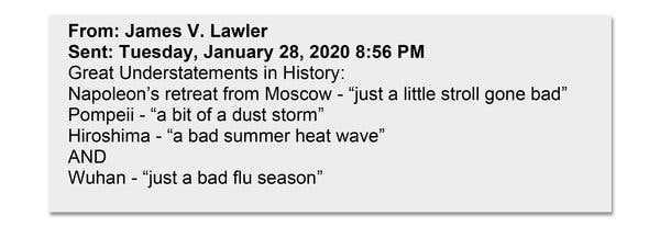 Email sent among federal government physicians and former senior pandemic advisers by Dr. James Lawler, an infectious diseases specialist and public health expert at the University of Nebraska Medical Center.