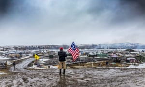 A 'water protector' at Standing Rock, where thousands gathered to protest the Dakota Access pipeline and its threat to the Missouri river.