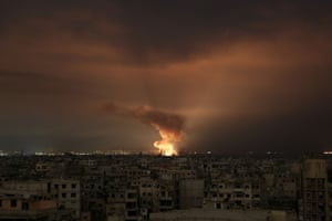 A Syrian regime airstrike on the besieged Eastern Ghouta region of its capital, Damascus in February. Zeid has criticised the catastrophic failure of the UN Security Council to halt mass killings in Syria.