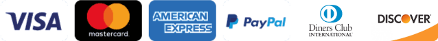 Accepted payment methods: Visa, Mastercard, American Express  Paypal, Diners Club and Discover