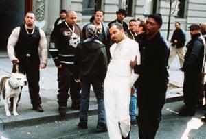 Jeffrey Wright and Samuel L Jackson, foreground, Singleton's 2000 film Shaft.