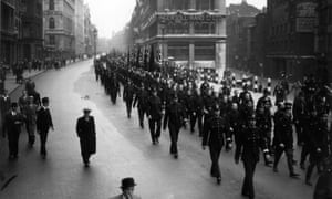The march by the British Union of Fascists through London's East End that led to the battle of Cable Street, 4 October 1936.