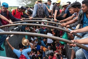 Depicted as a menacing horde … a caravan of Central Americans in Mexico, bound for the US.