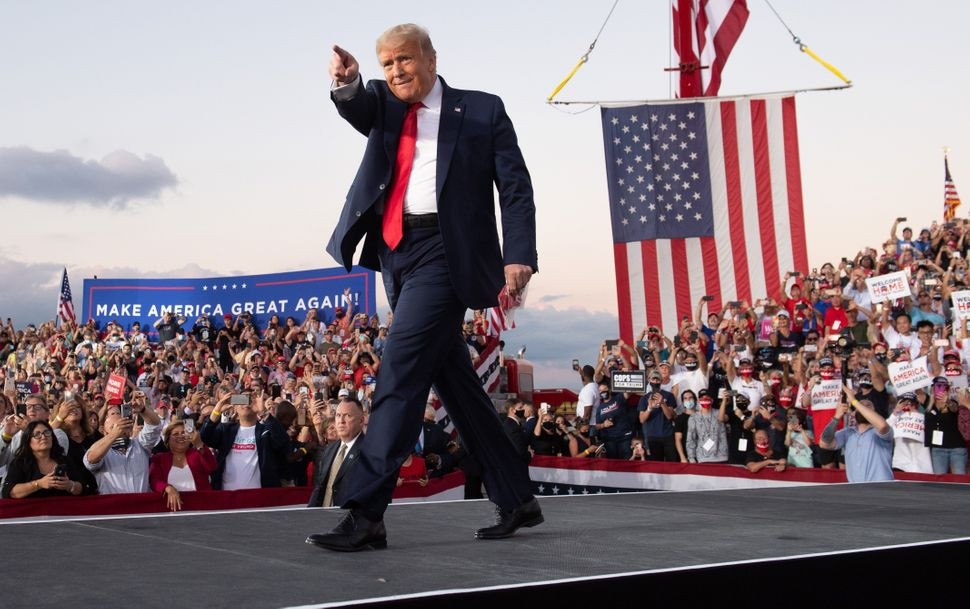 Donald Trump campaigns in Sanford, Florida, on Oct. 12, 2020.