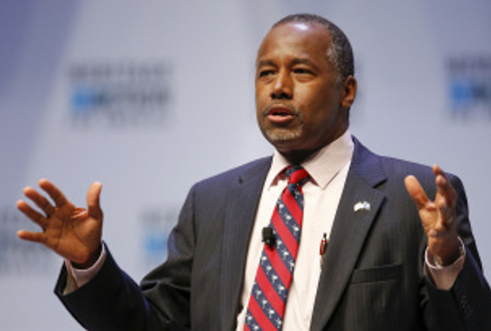 U.S. Republican candidate Dr. Ben Carson speaks during the Heritage Action for America presidential candidate forum in Greenville