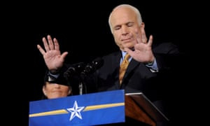McCain quiets his supporters while giving his concession speech in Phoenix, Arizona.