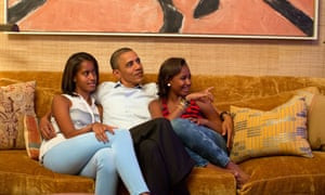 Barack Obama and his daughters Malia (left) and Sasha watch first lady Michelle Obama deliver her speech at the Democratic national convention in 2012.