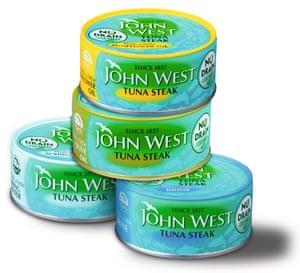 Tins of tuna in a pile