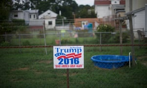 A Donald Trump sign is displayed in the backyard of a house in Schuylkill Haven, Pennsylvania. Support in working-class areas such as this helped Trump win the state in 2016.
