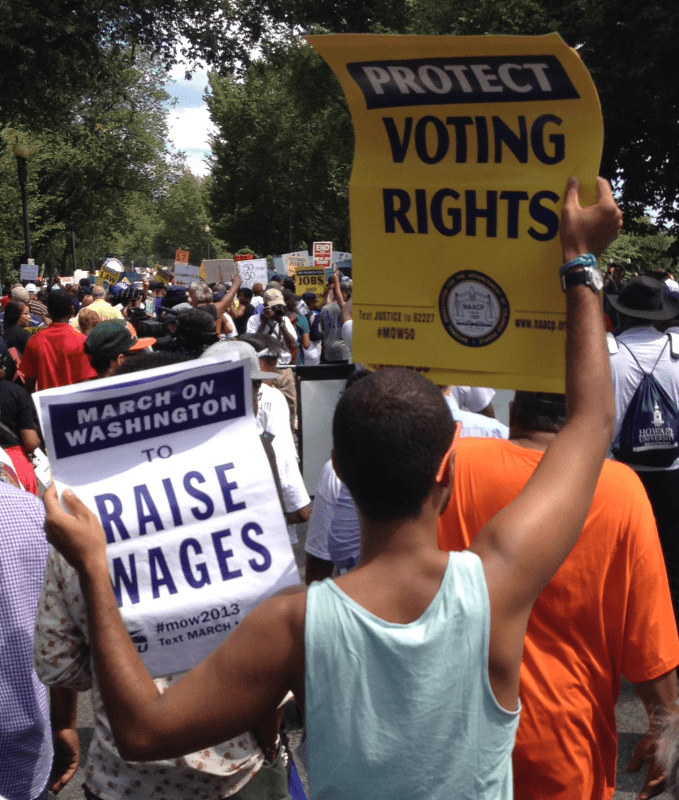 protect voting rights raise wages march on washington