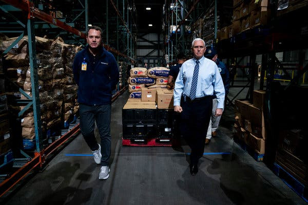 Vice President Mike Pence visiting a Walmart distribution center in Gordonsville, Va. this month. He was put in charge of the coronavirus task force after Mr. Trump clashed with Alex M. Azar II, the health and human services secretary.