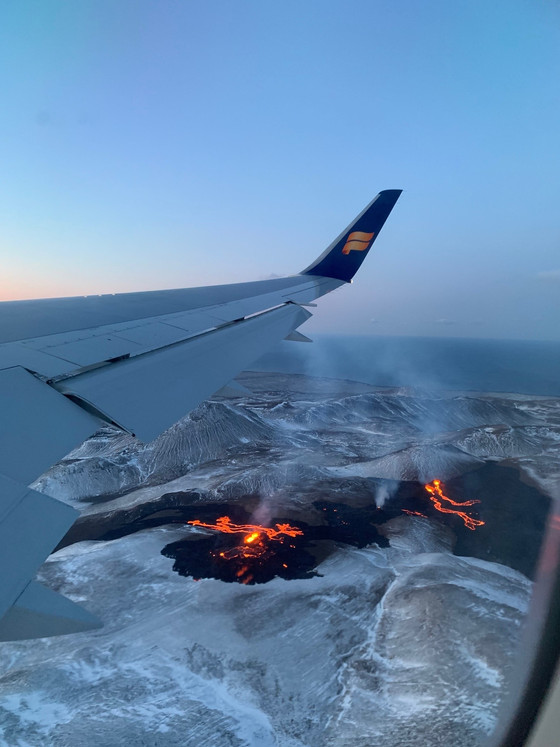 When flying over volcano!