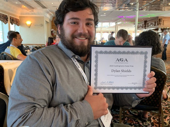 Congratulations on the 2019 Cryst EngComm Poster Prize  @ACA Meeting 2019 Dylan Shields