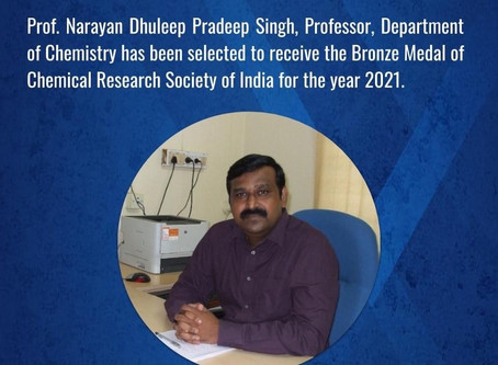 Congratulation Professor Pradeep Singh on your metal from the Chemical Research Society of India 202