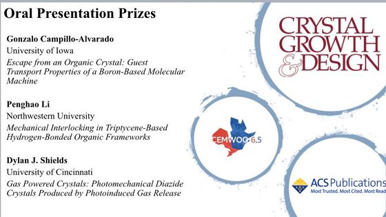 Congratulation Dylan Shields on your award for your presentation at CHEMWOQ6.5 sponsored by Crystal
