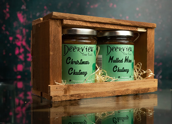 2 jar Hand Crafted Wooden Crate