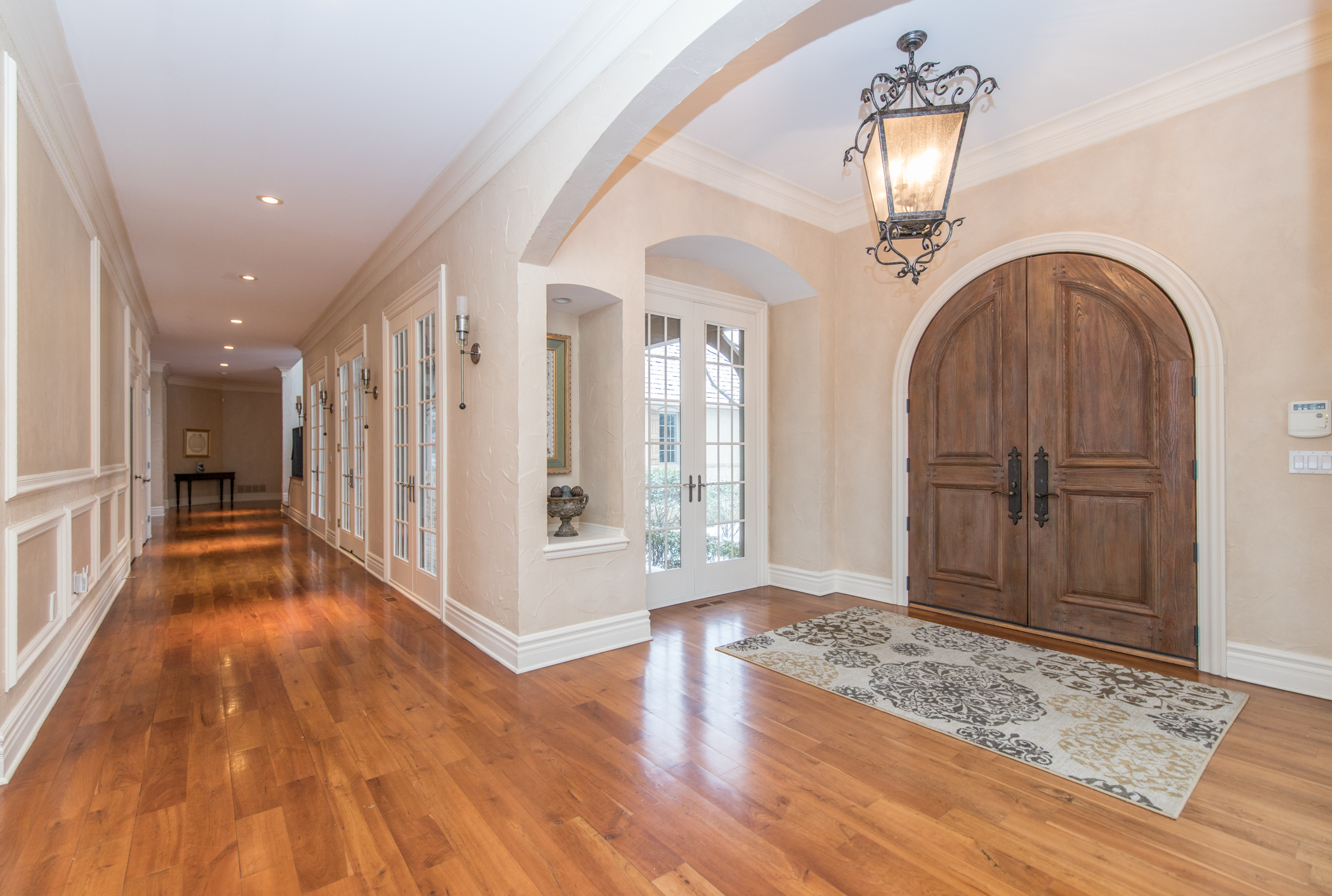 Wide halls & cherry plank floors