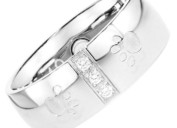 Magnet Ring Pfote mit Zirkonia
