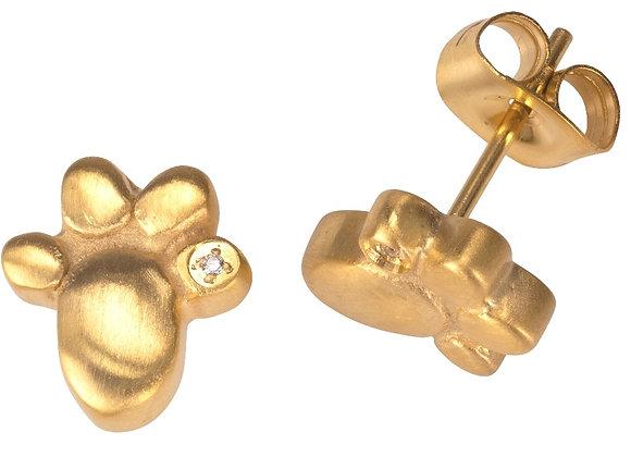 Magnet Ohrstecker mit Pfoten und Zirkonia