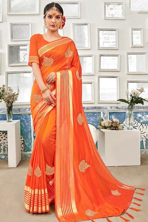 Orange Fancy Saree with Zari Stone Work Throughout