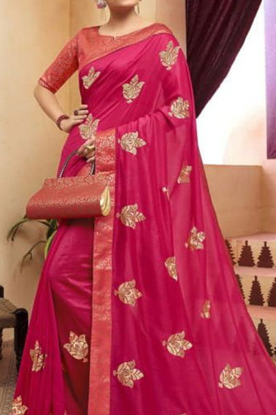 Pink Fancy Saree with Embroidery