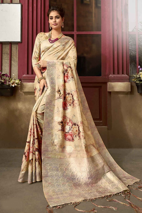 Cream Floral Fancy Saree